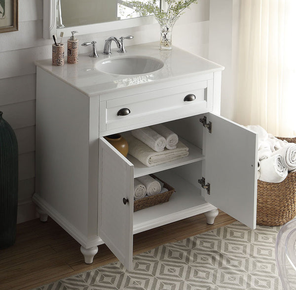 "34"" Cottage look White Glennville Bathroom Sink Vanity & mirror  Model CF-28667W-MIR - Chans Furniture - 4"