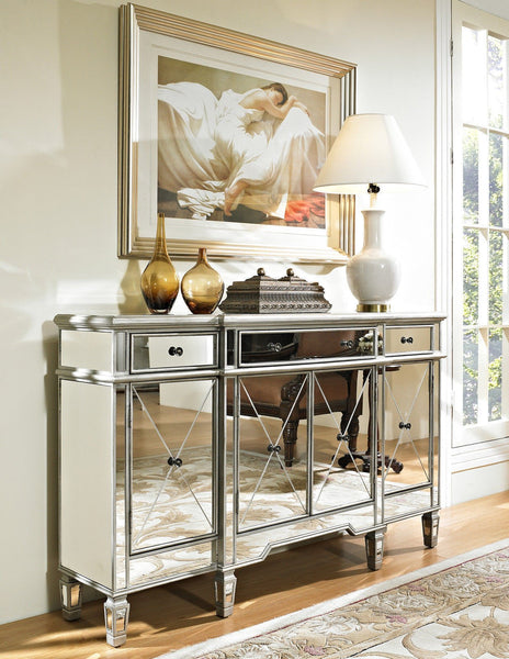 60-inch  Mirrore Relection Andrea Hall Console DH-695 (Silver) - Chans Furniture - 2