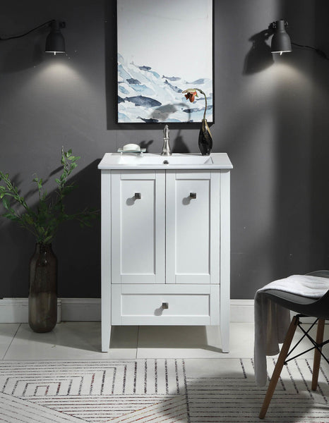 "25"" Tennant Brand Vermezzo Modern Small Slim White Bathroom Vanity WFS-85033W"