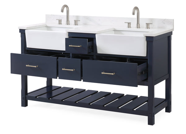 60-Inches Kendia Double Farmhouse Sink Bathroom Vanity - FW-7060-NB60