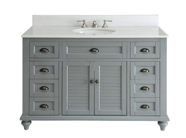 "49"" Cottage style Glennville Bathroom Sink Vanity GD28329CK (Grey) - Chans Furniture - 1"