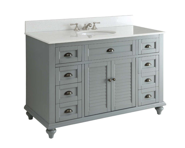 "49"" Cottage style Glennville Bathroom Sink Vanity GD28329CK (Grey) - Chans Furniture - 2"