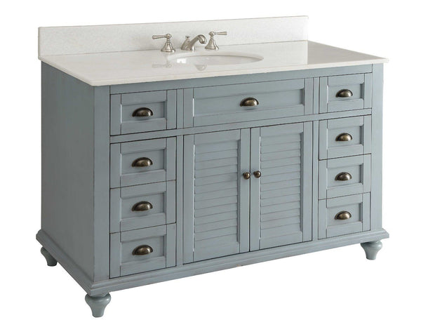 "49"" Vintage Blue Cottage Glennville Bathroom Sink Vanity - GD-28328BU-BS   (Blue) - Chans Furniture - 2"