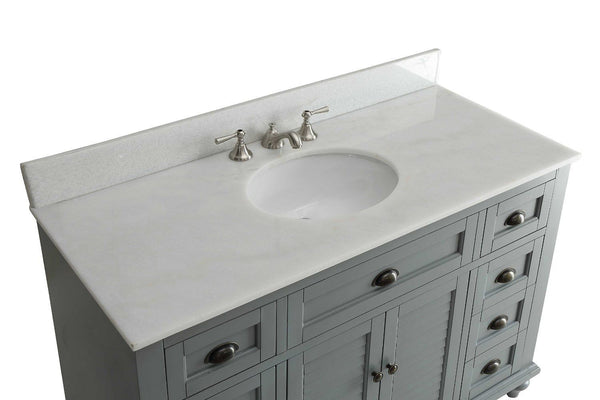 "49"" Cottage style Glennville Bathroom Sink Vanity GD28329CK (Grey) - Chans Furniture - 4"
