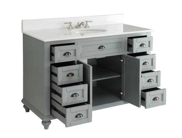 "49"" Cottage style Glennville Bathroom Sink Vanity GD28329CK (Grey) - Chans Furniture - 3"
