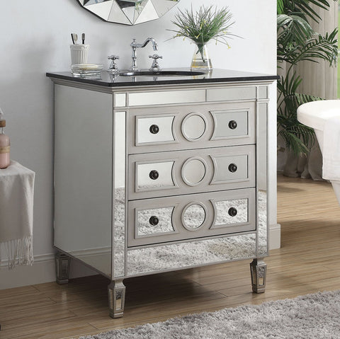 "30"" ACME Gaviya Modern Mirrored Bathroom Vanity 90335"