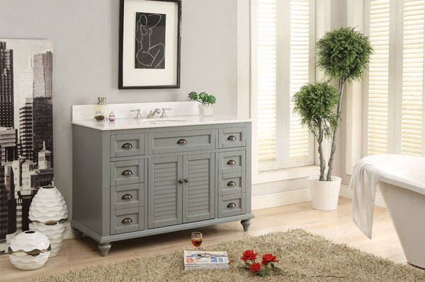 "49"" Cottage style Glennville Bathroom Sink Vanity GD28329CK (Grey) - Chans Furniture - 6"