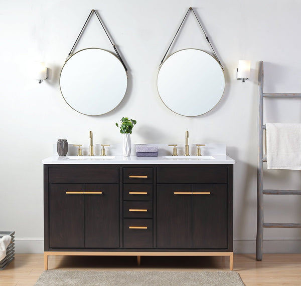 60 Tennant Brand Modern Style Beatrice Double Sink Bathroom Vanity Bentoncollections