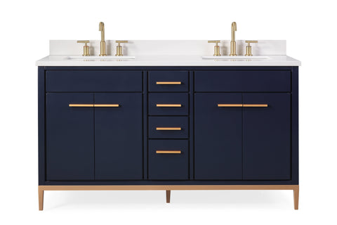 "60"" Tennant Brand Modern Style Navy Blue Beatrice Double Sink Bathroom Vanity - TB-9444-D60NB"
