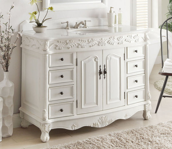 "48"" Antique White Classic Florence Bathroom Sink Vanity model # BC-036W-AW-48 - Chans Furniture - 2"
