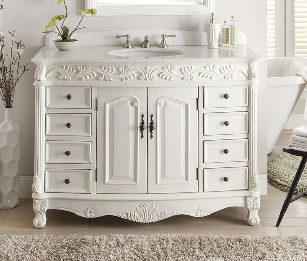 "48"" Antique White Classic Florence Bathroom Sink Vanity model # BC-036W-AW-48 - Chans Furniture - 3"