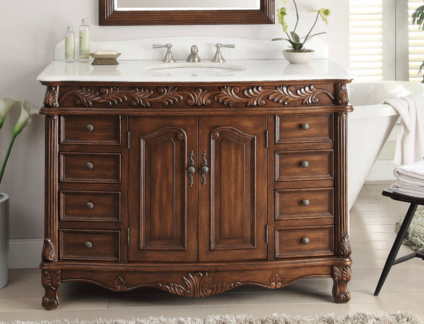 "48"" Classic Style Florence Bathroom Sink Vanity model # BC-036W-TK-48 - Chans Furniture - 3"
