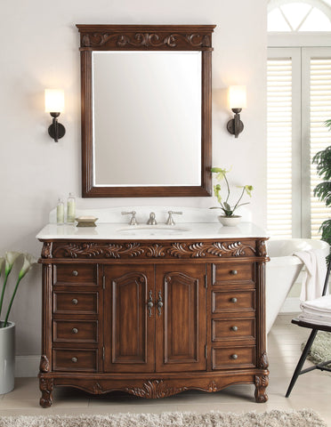 "48"" White Marble Top Florence Bathroom Vanity & Mirror Set model # BC-036W-TK-48MIR - Chans Furniture - 2"