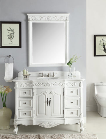 "48"" Beckham Bathroom Sink Vanity & Mirror Set, antique white  SW-3882W-AW-48MIR - Chans Furniture - 1"