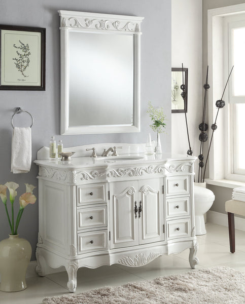 "42"" Beckham Bathroom Sink Vanity with Mirror - Benton Collection ZK-3882W-AW-42MIR"