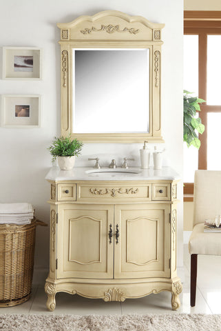 "36"" Classsic Style Pastel Beige Fairmont Bathroom Sink Vanity & Mirror Set BC-3905W-LT-36MIR - Chans Furniture - 1"