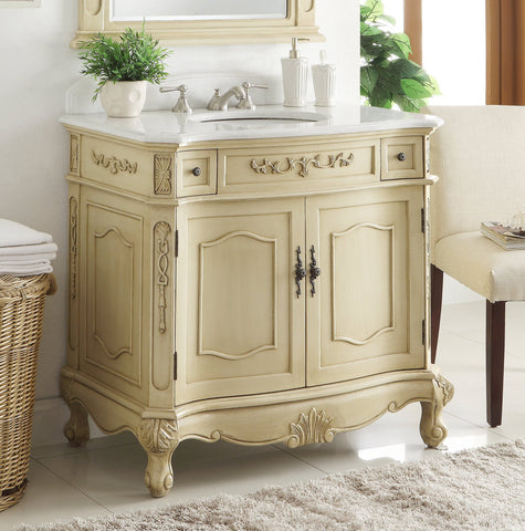 "36"" Classsic Style Pastel Beige Fairmont Bathroom Sink Vanity BC-3905W-LT-36 - Chans Furniture - 1"