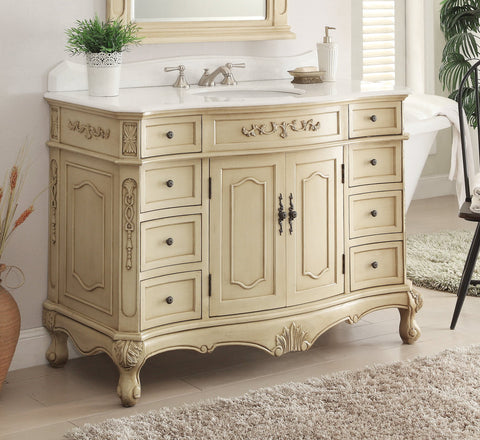 "48"" Classsic Style Pastel Beige Fairmont Bathroom Sink Vanity  BC-3905W-LT-48 - Chans Furniture - 1"