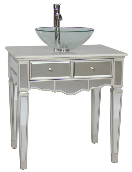 "30"" Mirror Reflection Alston Vessel Sink Bathroom Sink Vanity & Mirror Set model # BWV-015/30-FWM-015/2434 - Chans Furniture - 2"