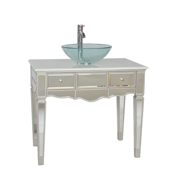 "36"" Mirror Reflection Alston Vessel Sink Bathroom Sink Vanity & Mirror Set model # BWV-015/36-FWM-015/2940 - Chans Furniture - 3"