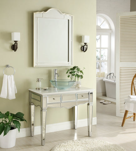 "36"" Mirror Reflection Alston Vessel Sink Bathroom Sink Vanity & Mirror Set model # BWV-015/36-FWM-015/2940 - Chans Furniture - 1"
