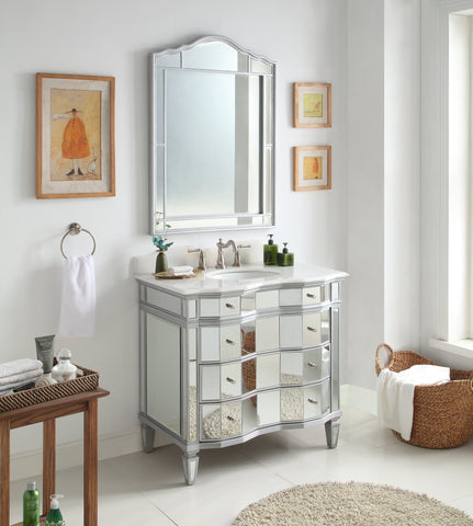 "36"" Mirrored Reflection Ashley Vanity & Mirror Set # BWV-025-36/FWM-015/3040"