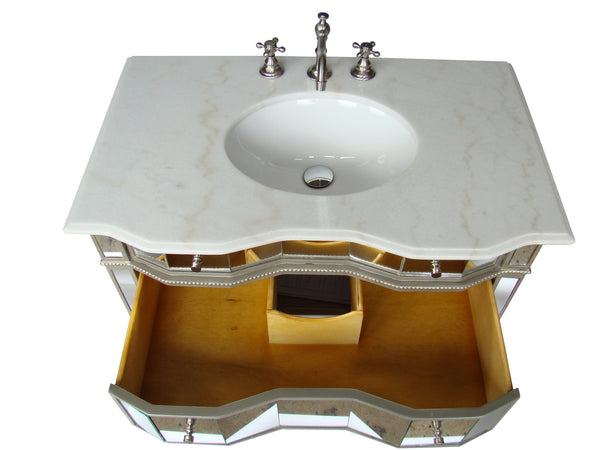 "30"" All mirrored reflection Ashley Bathroom Sink Vanity & Mirror Set   BWV-025/30-FWM-2434 - Chans Furniture - 4"