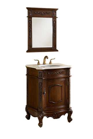 "24"" Classic Petite Powder Room Debellis Bathroom Sink Vanity & Mirror Set Model # BWV-047W-MIR - Chans Furniture - 4"