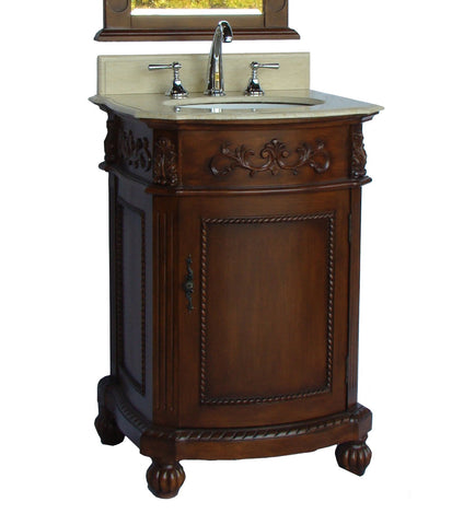 "24"" Cream marble Top Camelot Bathroom Sink Vanity - BWV-048M - Chans Furniture"