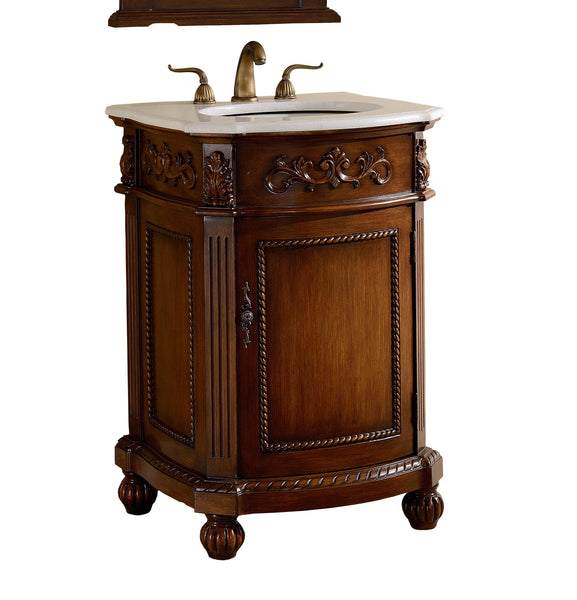 "24"" Powder Room Bathrrom Sink Vanity & Mirror set, Camelot  - BWV-048W-MIR - Chans Furniture - 3"