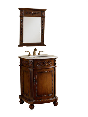 "24"" Powder Room Bathrrom Sink Vanity & Mirror set, Camelot  - BWV-048W-MIR - Chans Furniture - 4"