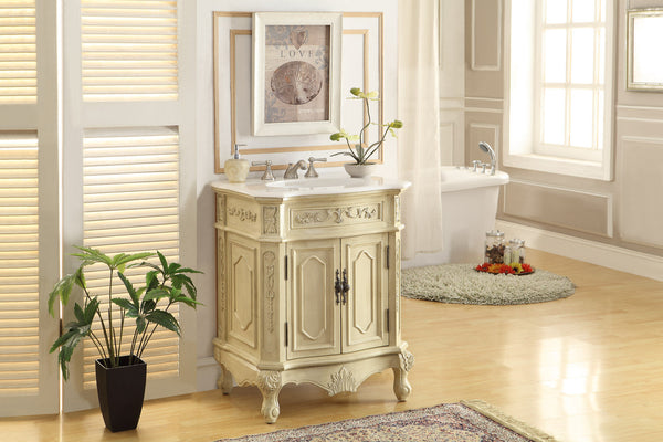 "27"" Petite Powder Room Beige Color Spencer Bathroom Sink Vanity HF-3305W-LT-27 - Chans Furniture - 3"