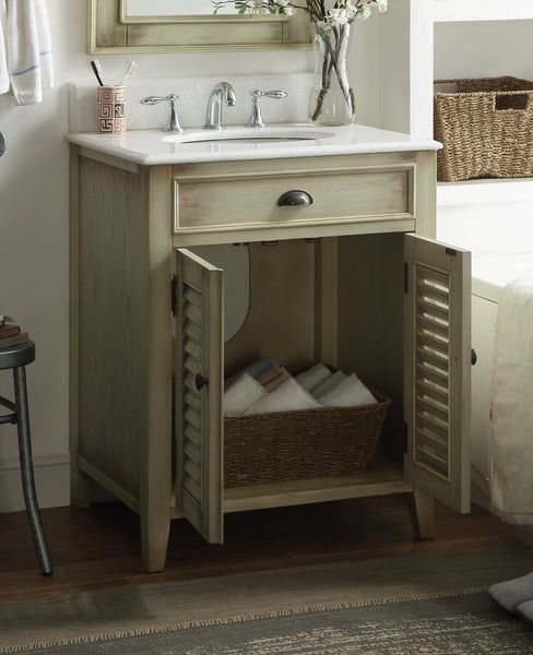 "26"" Cottage style Abbeville Bathroom Sink Vanity & Matching mirror - CF28323-MIR - Chans Furniture - 5"
