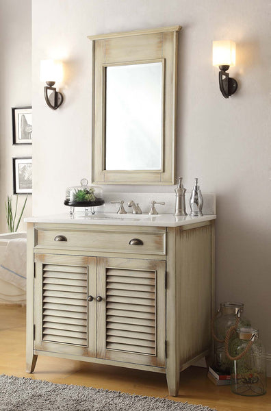 "36"" Abbeville Bathroom Sink Vanity, Distressed Beige - Benton Collection Model CF-28324"