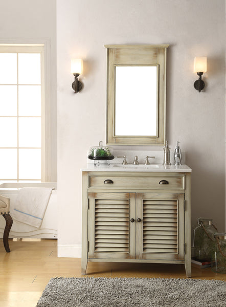 "36"" Abbeville Bathroom Sink Vanity & Mirror Set CF-28324-MR-28324 - Chans Furniture - 2"