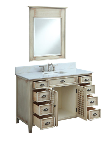 "46"" Distress Beige Cottage Style Abbeville Bathroom Sink Vanity CF-28325W"