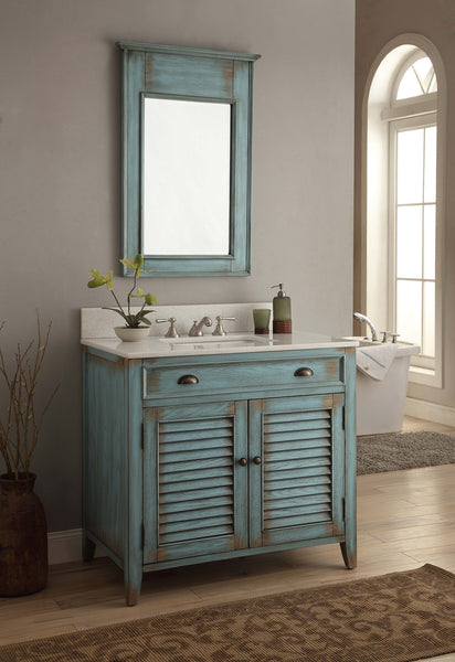 "36"" Distress Blue Abbeville Bathroom Sink Vanity & Mirror set CF-28884BU-MR-28884 - Chans Furniture - 1"