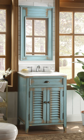 "26"" Cottage style Abbeville Bathroom Sink Vanity & Matching mirror - CF28323W-MIR - Chans Furniture - 1"