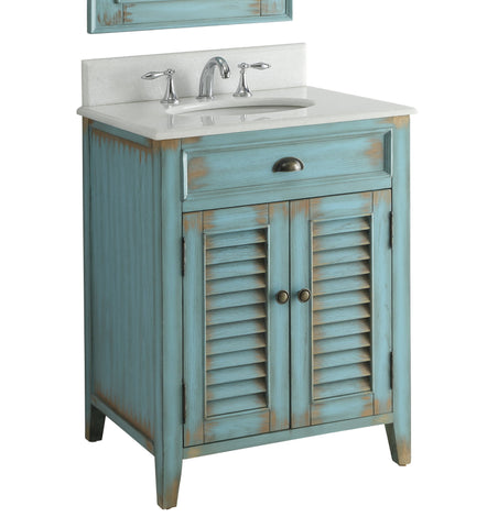 "26"" Distress Blue Abbeville Bathroom Sink Vanity CF-28883BU - Chans Furniture - 3"