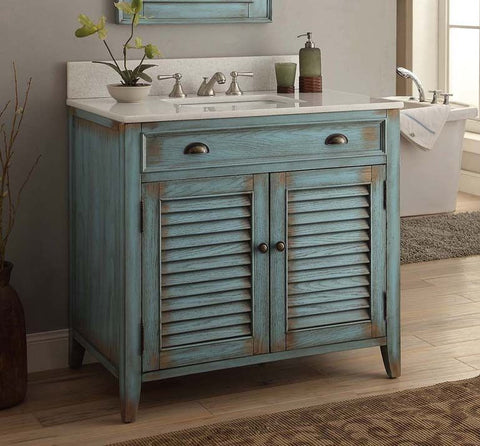 "36"" Distress Blue Abbeville Bathroom Sink Vanity - CF28884BU - Chans Furniture - 1"