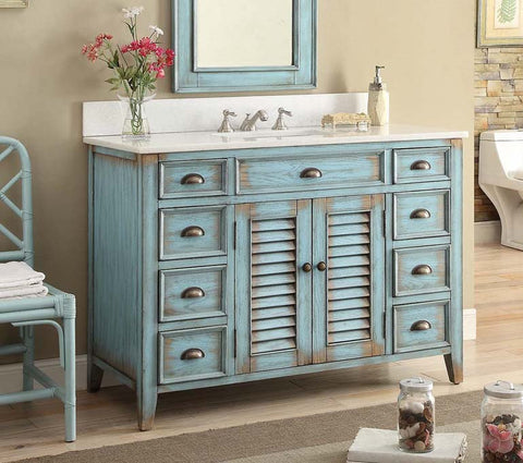 "46"" Distressed blue Abbeville Bathroom Sink Vanity  - CF28885BU - Chans Furniture - 1"