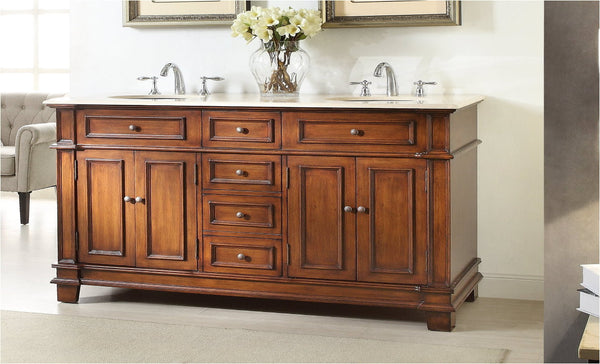 "70"" Timeless Classic Sanford Double Sink Bathroom Vanity  model #  CF-3048M-70 - Chans Furniture - 2"