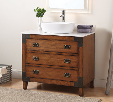 "36"" Vessel Sink Bathroom Vanity, Asian style Akira  SKU - CF-35535"