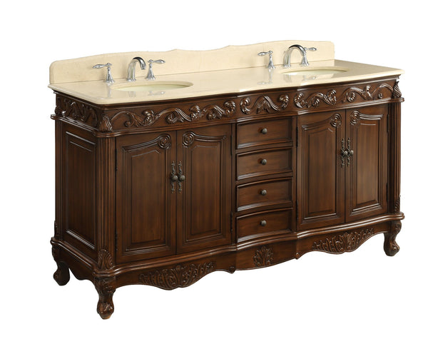 "64"" Classic Style Beckham Double Sink Bathroom Sink Vanity CF-3882M-TK-64 - Chans Furniture - 5"
