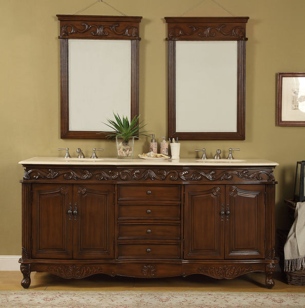 "72"" Beckham Double Sink Bathroom Vanity with Mirrors - Benton Collection Model CF-3882M-TK-72-MIR"