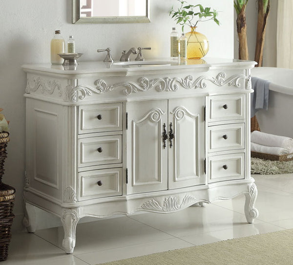 "48"" Antique white Beckham Bathroom Sink Vanity SW-3882W-AW-48 - Chans Furniture - 2"