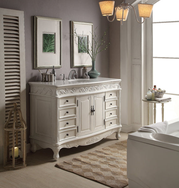 "56"" Antique white Beckham Bathroom Sink Vanity CF-3882W-AW-56 - Chans Furniture - 3"