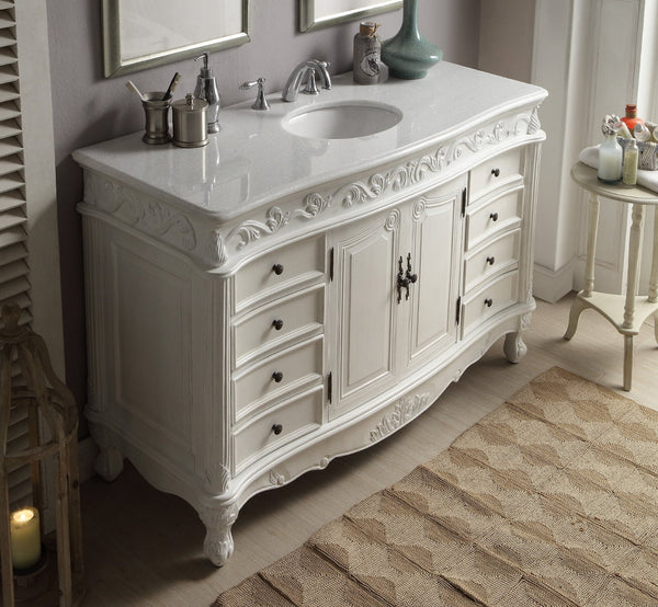 "56"" Antique white Beckham Bathroom Sink Vanity CF-3882W-AW-56 - Chans Furniture - 2"