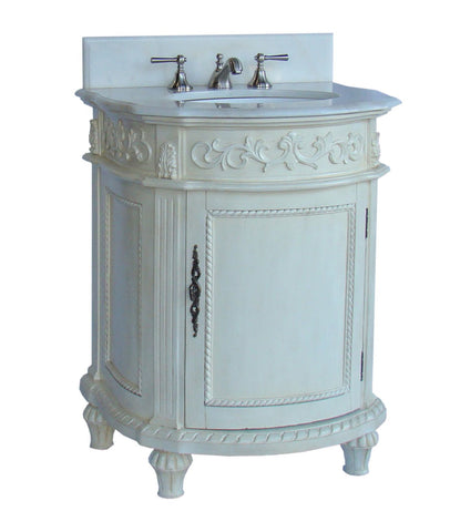 "26"" Petite Powder Room White Marble Catalina Bathroom Sink Vanity CF-4408W-AW - Chans Furniture - 1"
