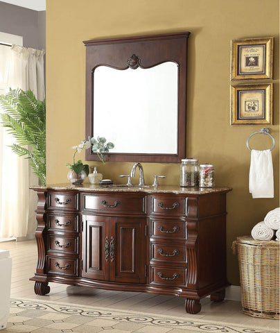 "60"" Old World Hopkinton Bathroom Sink Vanity Cabinet & Mirror Set# GD-4437B-60MIR"